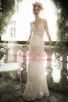 Wholesale 2015 New Sexy V neck Lace Sheath Wedding Dresses Chiffon Summer Beach Wedding Dress Sexy Backless Bridal Gowns LH1405, Free shipping, $149.32/Piece | DHgate Mobile