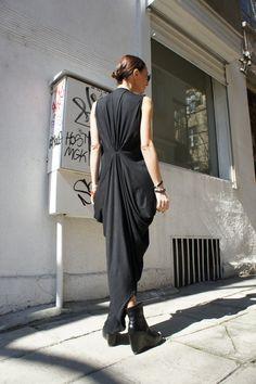 Black Kaftan / Maxi Black Dress / Asymmetrical Tunic by Aakasha, $79.00