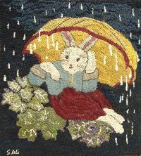 free rug hooking patterns | ss bunny s umbrella rug hooking pattern sharon smith our