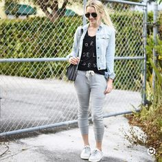 < Sunday sweats > // this denim jacket and tank may be two of the oldest things in my closet (remnants of my 25 year old self living in Brooklyn) but I still love them. Nothing like cozy favorites for a day of errands laundry  meal prep. Linked some similar tops  the rest of this comfy look here // Screenshot or 'like' this pic to shop the product details from the new LIKEtoKNOW.it app available now from the App Store! // http://liketk.it/2qGas #liketkit @liketoknow.it #igstyle #weekendwear…