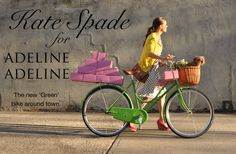 Bright green retro cycle with wicker basket carrying puppy in front and packages strapped on the back...  Kate Spade