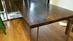 pine reclaimed wood hairpin dining table