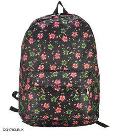 QQ1793 Black - Vintage Flower Print Backpack with Front Pocket