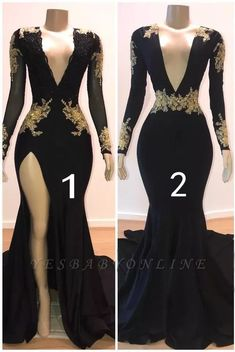 Sexy Black Long Sleeve Prom Dresses 2019 Gold Appliques Evening Gowns On Sale Item Code: Cheap Prom Dresses Uk, Prom Girl Dresses, Prom Dresses Long With Sleeves, Prom Outfits, Black Prom Dresses, Homecoming Dresses, Bridesmaid Dresses, Maxi Dresses, Formal Dresses
