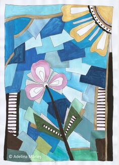 Pictura moderna gouache – Adelina Mărieş – design Gouache, Quilts, Blanket, Modern, Artwork, Painting, Design, Blankets, Trendy Tree