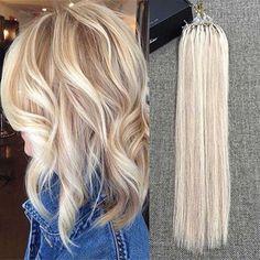 Micro Ring Human Hair Extensions(#18 #613) – Full Shine