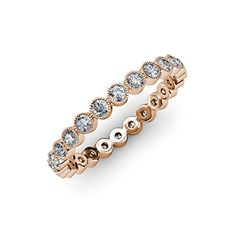 Diamond Bezel Set Milgrain Eternity Band (SI2-I1, G-H) 0.51 ct tw to 0.60 ct tw 14K Rose Gold.size 8.5 *** Visit the image link more details.