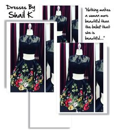 """50777 Black Floral Print Lace Satin High Two Piece Short Homecoming Dress"" by harrydress ❤ liked on Polyvore"