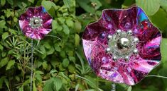 Fancy Pansies with upcycled CD's