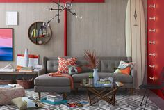 Grey and Corail Eclectic Living Room decor.