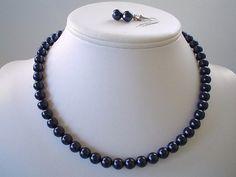 Single Strand Navy Blue Swarovski Pearl by delicatecreationsbym, $15.00