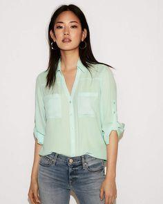 b2b095cf48154 Express Petite Slim Fit Convertible Sleeve Portofino Shirt Portofino Shirt