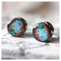 Nebula Plugs, Space Gauges, Nerdy Gauges, Picture Plugs sizes 0g, 00,... ❤ liked on Polyvore featuring jewelry