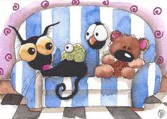 ACEO Original watercolor painting whimsical bird crow black cat teddy bear sofa #IllustrationArt