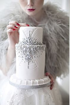 Art Deco Wedding Cake with Silver and White Rhinestones, 2013 Weddings Trends