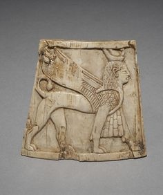One of the Nimrud ivories, 9th-7th century BC. Discovered in Nimrud (modern Iraq) and excavated by the British in the 1940s-60s. The British Museum acquired many of the carvings in 2011, when they were exhibited for the first time to the public.