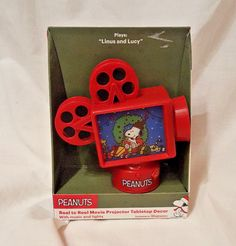 Peanuts Snoopy Reel To Reel Movie Projector Tabletop Decor Plays Linus and Lucy #Peanuts
