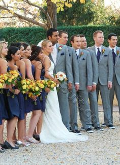 Navy Blue Bridesmaid Dresses And Boys In Grey With Ties Hankies Pink Bouquets Butoniers