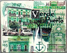 de vuelta con el cuaderno: Otros verdes.  Avenida del Puerto.