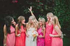 Lots of pink with these pink bridesmaids! Parker Palm Springs Wedding by Studio Castillero Hot Pink Bridesmaids, Ombre Bridesmaid Dresses, Wedding Bridesmaids, Wedding Dresses, Bridesmaid Ideas, Turquoise Bridesmaids, Pink Dresses, Bridesmaid Color, Palm Springs