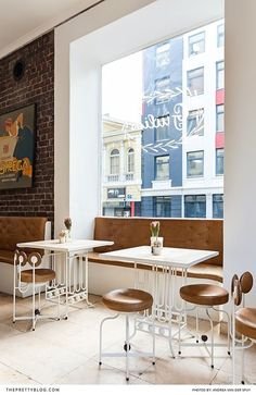 Bright and clean cafe with white tables and leather chairs Italian Cafe, Food Industry, White Tables, Good Company, City Life, Cape Town, Leather Chairs, Dining Table, Van