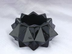 Vintage Black Glass Candle Holder, Chunky Angular Cubes and Diamonds Design