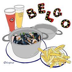 Delicious Moules Marinières and Strawberry beer in colour  頼まれてもないのに店広告しちゃいますけど、Belgoのムール貝美味しかったですYO❣ピンクのビールは苺味  (at Belgo Soho)