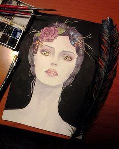 #instaart #art #workofart #watercolor #drawing #pencil #darkfairy #maleficentinspired #flowers #fantasy #sketch #instagood #sketchbook #purple #dark #aartistic_dreamers #gold #beautiful