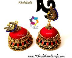 Red Blue Silk thread Kundan Double Jhumkas with Peacock stud – Khushi Handicrafts Silk Thread Jhumkas, Silk Thread Necklace, Silk Thread Bangles, Thread Jewellery, Tanjore Painting, Diy Accessories, Indian Jewelry, Handicraft, Antique Jewelry