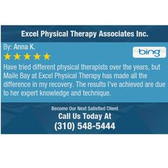 Have tried different physical therapists over the years, but Maile Bay at Excel Physical...