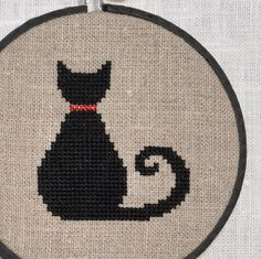 Cross Stitch Pattern PDF - Black Cat. $3.00, via Etsy.