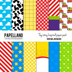 Toy story Inspired digital paper pack for scrapbooking, Making Cards, Tags and Invitations / Insta Fête Toy Story, Toy Story Baby, Toy Story Theme, Toy Story Birthday, 3rd Birthday, Toy Store 4, Festa Toy Store, Manualidades Toy Story, Toy History