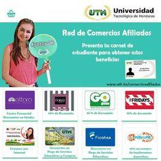 Presenta tu carnet de estudiante para obtener beneficios y descuentos  más información en:  www.uth.hn/comerciosafiliados  #UTH #Honduras #BeneficiosUTH