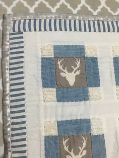 Baby Quilt / Blanket with Deer / Bucks from by Fluffyfawnquilts