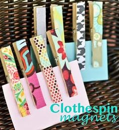 fabric scraps and mod podge - DIY clothespin magnets Diy Projects For Kids, Diy Craft Projects, Diy For Kids, Crafts For Kids, Craft Ideas, Sewing Projects, Cute Crafts, Crafts To Make, Creative Crafts