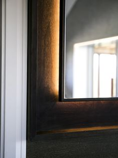Windsor Master Bathroom - St James Interiors - Fumed oak mirror frame with backlit detail. Backlit Mirror, Joinery Details, Saint James, Windsor, Master Bathroom, Luxury, Frame, Bathroom Ideas, Bathrooms