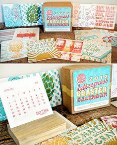 Meadowlark Creative's Letterpress Coaster Calendar (note: wood block)