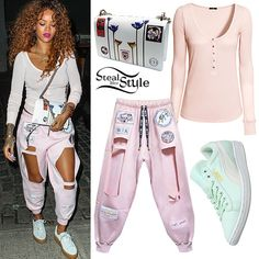 Rihanna: Pink Cutout Sweatpants