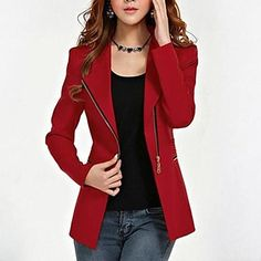 Women's Plus Size Zipper Black Red Jacket, Work/Casual Lapel Long Sleeve M–3XL From 39,95 for EUR € 16.15