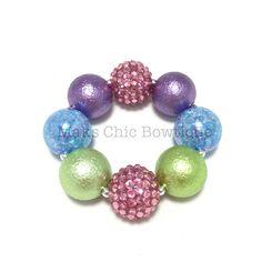 Toddler Spring Rainbow Chunky bracelet, Pink, Lime green, blue and purple chunky bracelet, Easter bracelet, Mermaid chunky bracelet by MaksChicBowtique on Etsy https://www.etsy.com/listing/270449667/toddler-spring-rainbow-chunky-bracelet