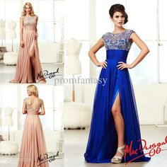 Discount Royal Blue Chiffon Shimmering Crystals Beaded Evening Gowns Sheer Bateau Neck Cap Sleeves Side Slit Blush Beach Bridal Party Formal Dresses Online with $139.99/Piece | DHgate