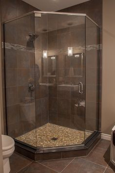Small Bathroom Remodel Corner Shower corner shower with glass tile privacy window | salle de bain