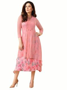 Buy Readymade in all over print topped by a pleated layer lightly embellished with stone Work. Party Wear Kurtis, Tunics Online, Plain Tops, Western Dresses, Dress For You, Casual Wear, Cold Shoulder Dress, Stone Work, Summer Dresses