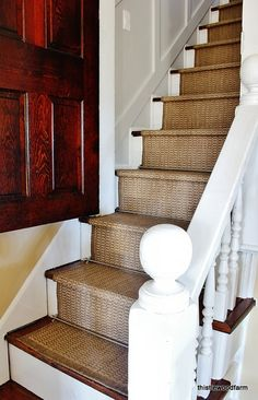 "Indoor_Outdoor_Runner_Stairs from Home Decorators Collection 2 of them 2'x3"" x 11'9"" at $50 each stapled to stairs with brushed nickel staircase rods and finials from Home Depot thistlewoodfarms feb 20 2013"
