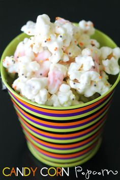 White Chocolate Candy Corn Popcorn! A quick and easy sweet and salty treat!!