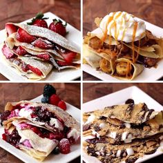 Crepes Four Ways 41 Tasty Breakfast & Brunch Recipes To Save For Later Breakfast Recipes, Dessert Recipes, Crepe Recipes, Breakfast Pancakes, Brunch Recipes, Banana Breakfast, Brunch Ideas, Dessert Crepe Recipe, Breakfast Ideas