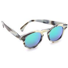Illesteva Leonard Mirrored Sunglasses ($177) ❤ liked on Polyvore featuring accessories, eyewear, sunglasses, round mirror sunglasses, metallic sunglasses, two tone glasses, keyhole glasses and polarized sunglasses