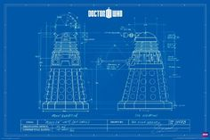 1 X Doctor Who Dalek Blueprint TV Television Show Poster Print 24x36 @ niftywarehouse.com #NiftyWarehouse #DoctorWho #DrWho #Whovians #SciFi #ScienceFiction #BBC #Show #TV