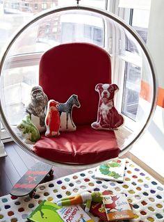 bubble chair animal pillows polka dot rug bla bla frog