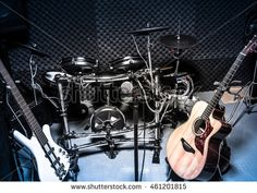 selective focus the  microphone and music instruments the guitar,electric…
